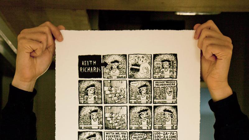 """KEITH RICHARDS ON GETTIN REAL"" – SCREENPRINT"